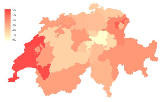 Geschätzte durchschnittliche Erbschaftssteuer (2008) Darstellung: Basil Schläpfer; Datengrundlage: Brülhart und  Parchet (2013)